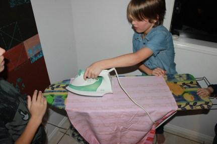 Ironing the fabric flat