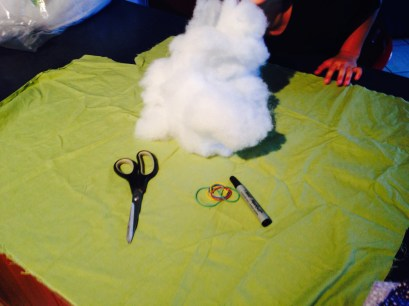 All you need; Large piece of fabric, stuffing, scissors, marker, rubber bands, cotton or wool, eyes (or you could draw them)