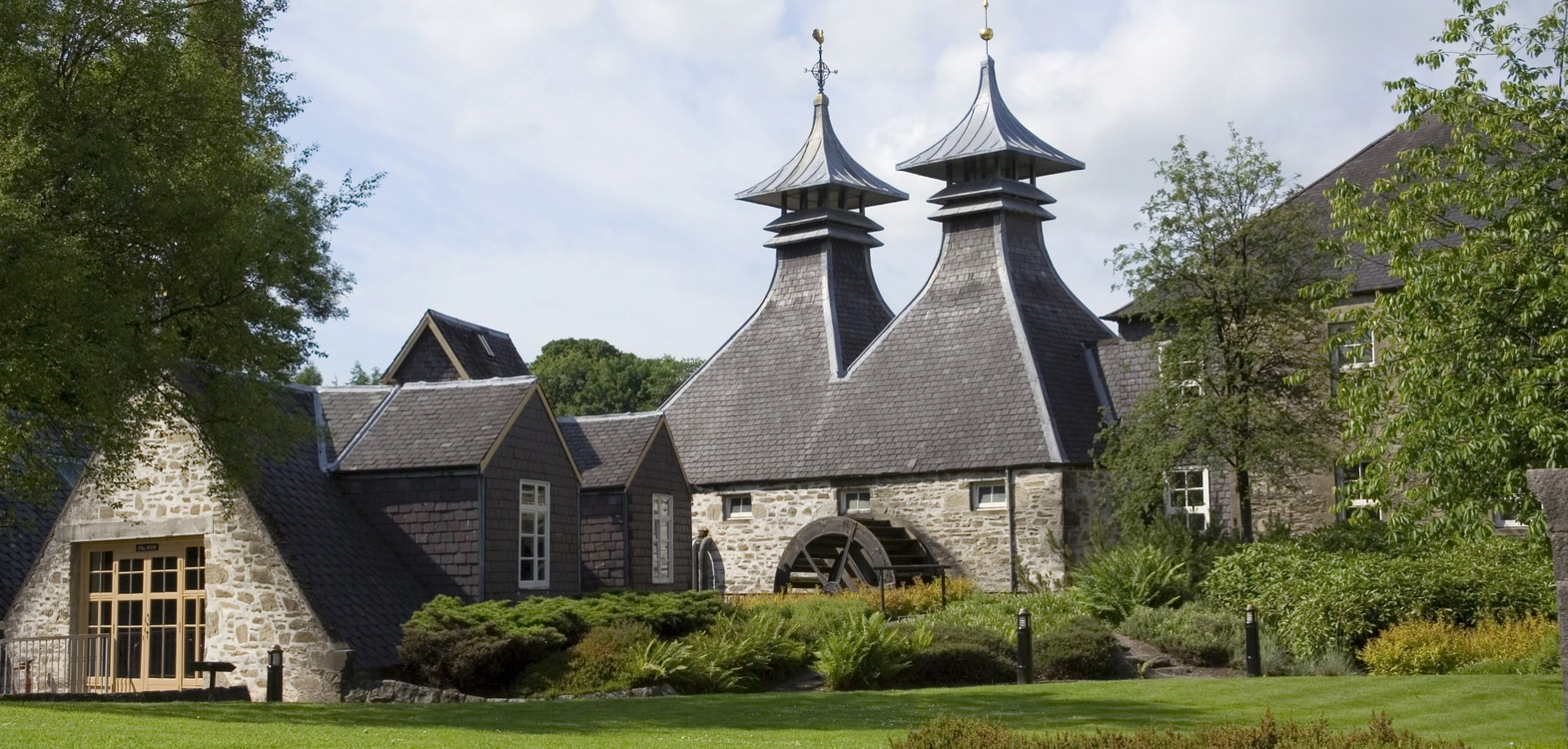 Roof structures on a Scottish distillery within driving distance of Strathallan Guest House
