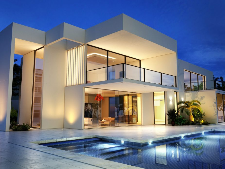 Upscale modern mansion with pool