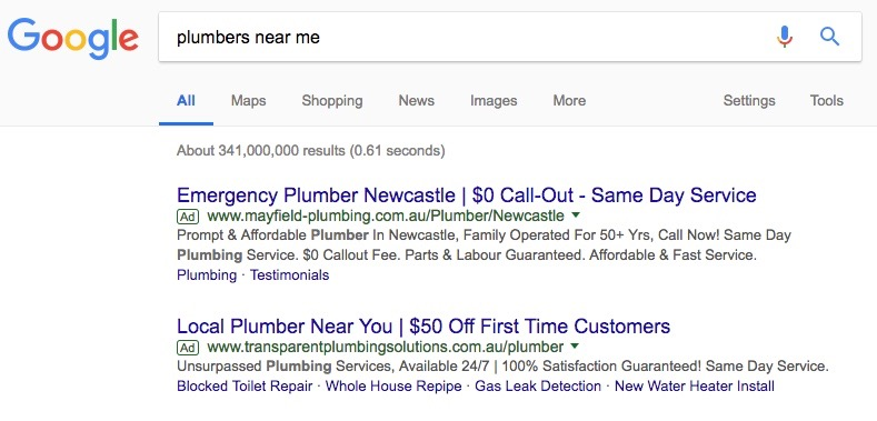 Plumbers Near Me Local Paid Search Results for Newcastle, NSW