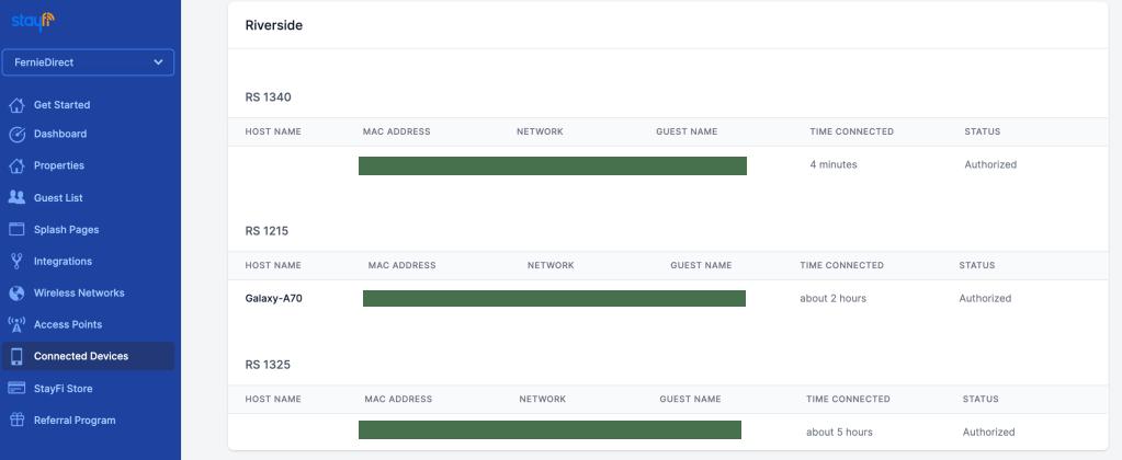 StayFi Client Details