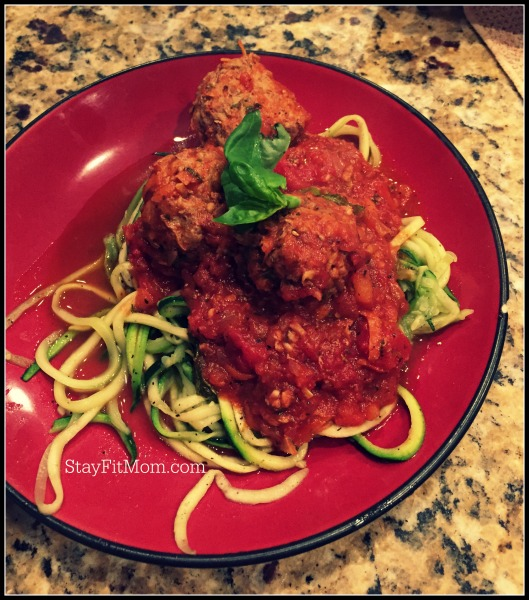 Easy Whole30 meatballs with zucchini noodles.