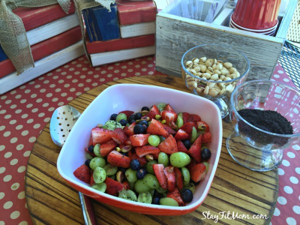 Simple Fruit Salad tossed with fresh lime juice and liquid stevia. This is always a hit when I bring it to BBQ's!