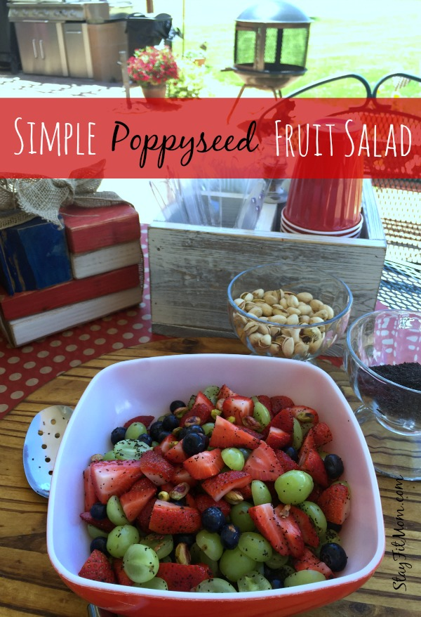 Healthy fruit salad with pistachios and sweetened with stevia. This is my new favorite dish to bring to BBQ's!