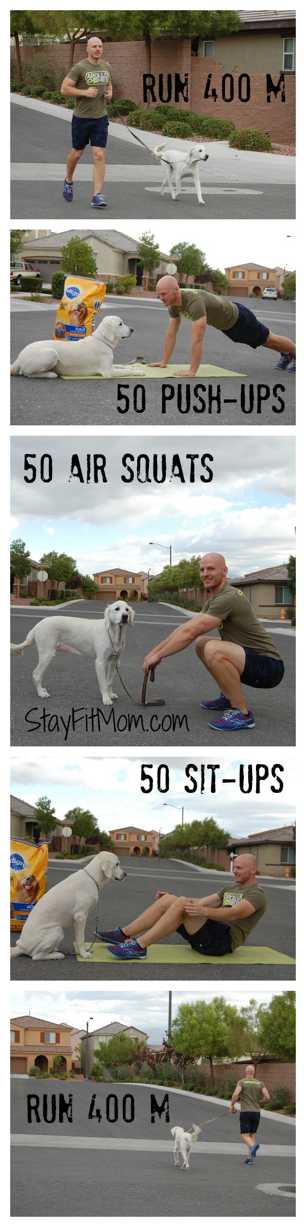 CrossFit workout with the family dog from StayFitMom.com!