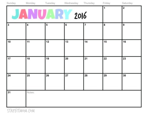 Free January 2016 Printable Calendar. Check off each day you eat healthy or exercise!