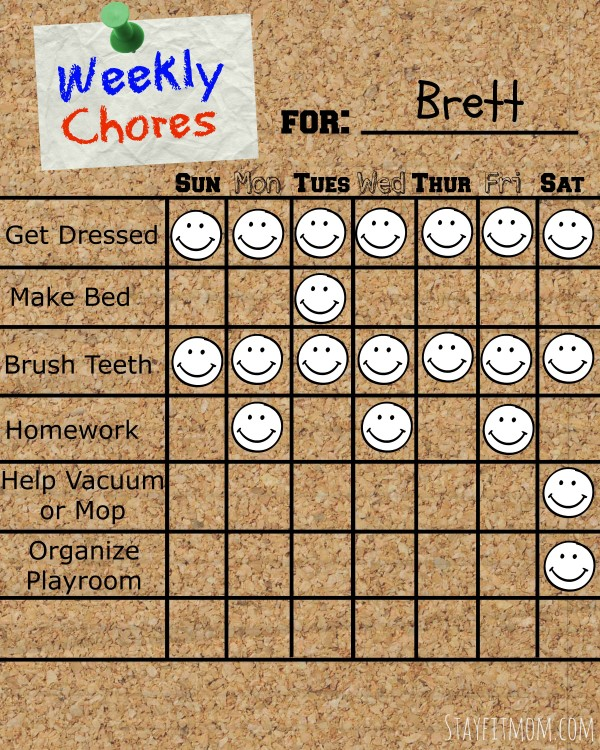Fill in Weekly Chore Chart for Kids Printable