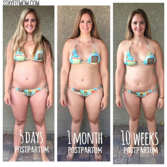 Postpartum transformation from StayFitmom.com