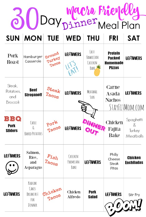 A macro friendly 30 day meal plan for the busiest of moms from StayFitMom.com.