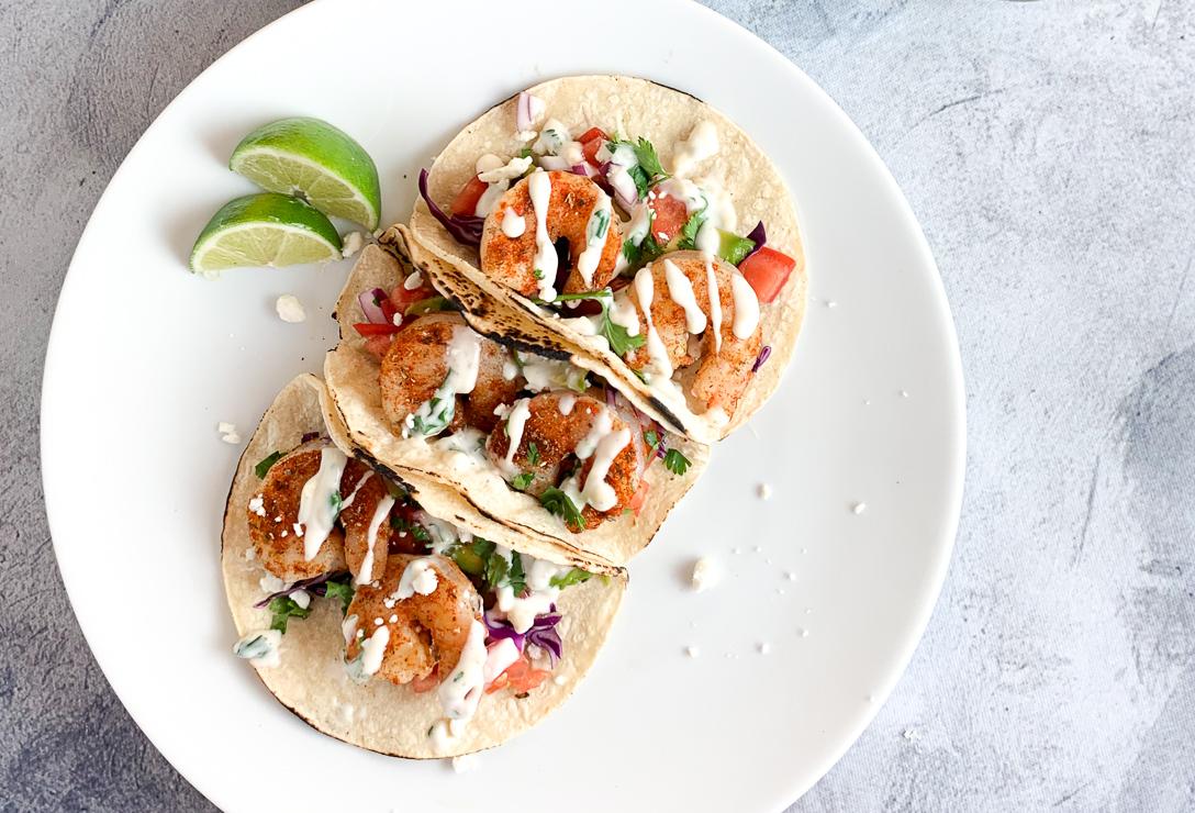high protein, low fat grilled shrimp tacos with a delicious sauce #stayfitmom #stayfitmomrecipe #shrimptacos #macrofriendly #lowfatrecipe
