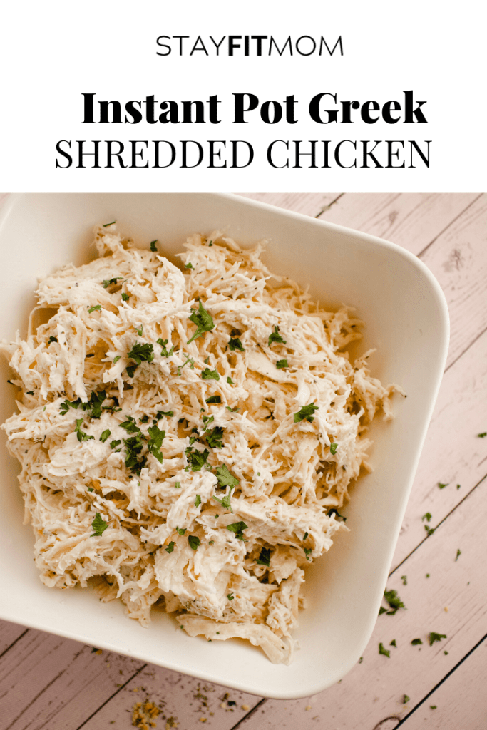 Easy high protein instant pot or slow cooker recipe #stayfitmom #easyrecipe #greekchicken #chickenrecipe