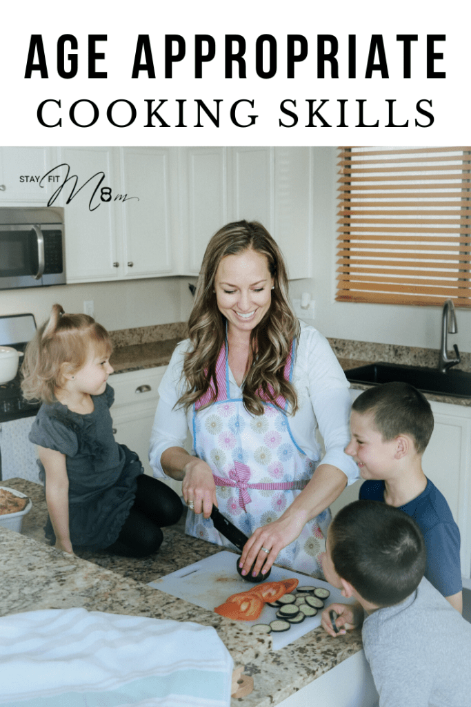A list of cooking skills your kids should know by age. Even includes a printout! #stayfitmom #kidscooking #kidsinthekitchen