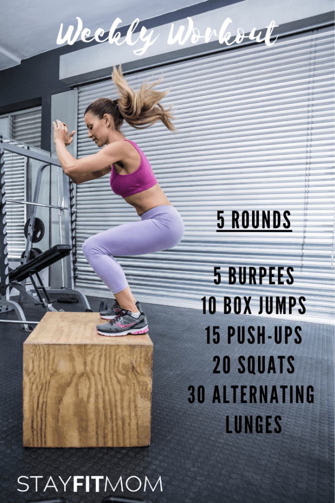 Home Crossfit workout using little to no equipment. #stayfitmom #weeklyworkout #crossfitworkout
