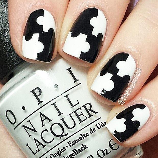 Black White Puzzle Nail Design