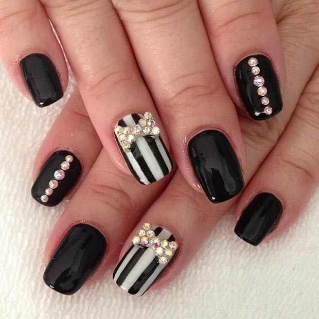 Black Matte Nails With Glossy Stripes Design Nail Art