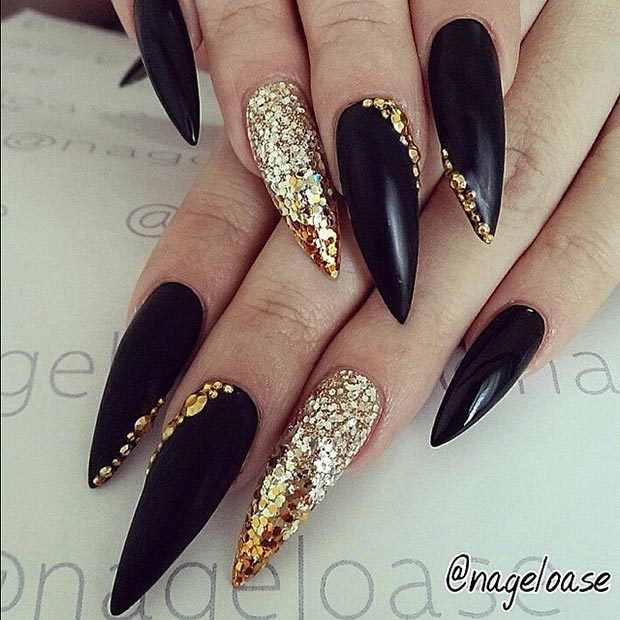 Black With Gold Glitter Sti Nail And Nails