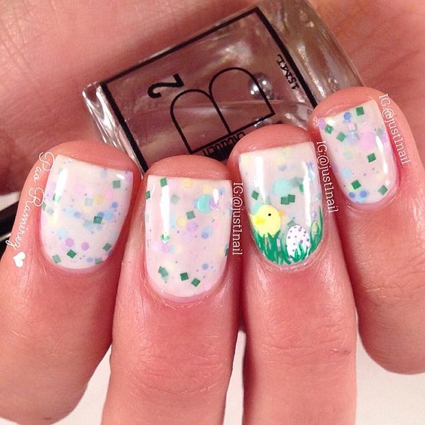 Easter Chicken Accent Nail