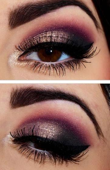 Black Burgundy Gold Eye Makeup Look