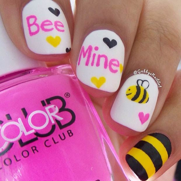 Cute Bee Mine Valentines Day Nails