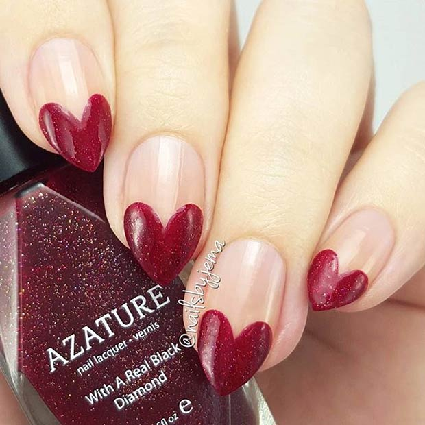 Red Heart Tip Nail Art Design