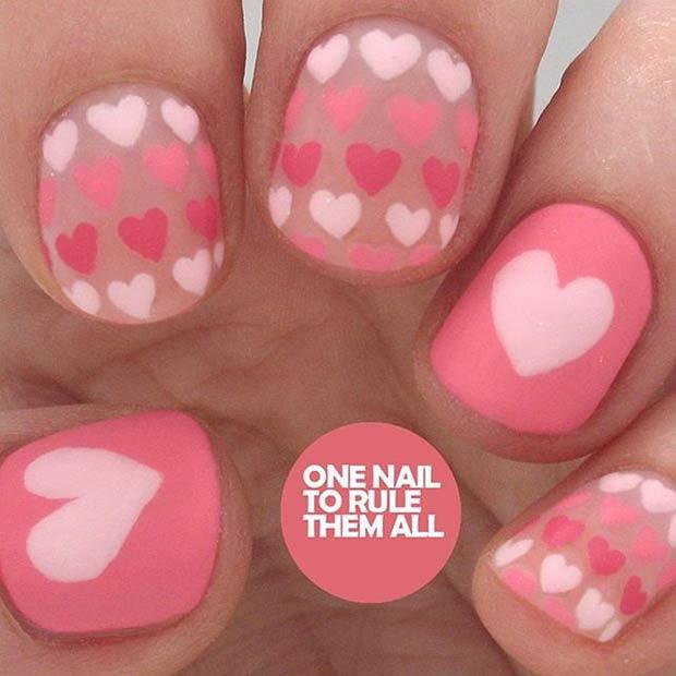 Matte Valentines Day Nail Design