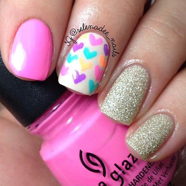 Pink and Gold Valentines Day Nails