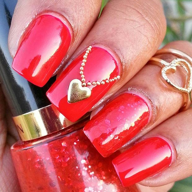 Red Valentines Day Nails