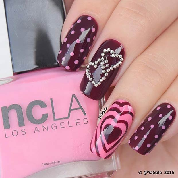 Dark Valentines Day Nails