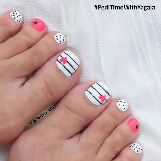 Cute Valentines Day Pedicure Idea