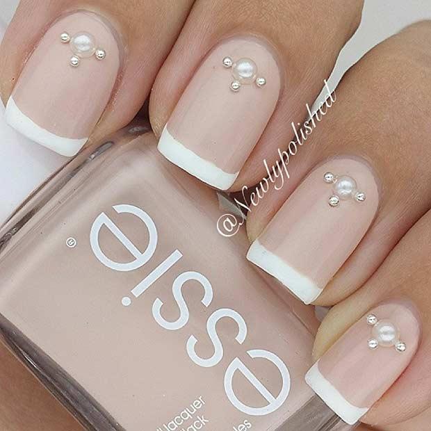 Sparkly Cross Wedding Nail Design
