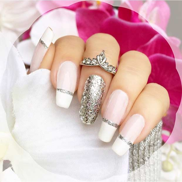 Silver Glitter French Tip Nail Design