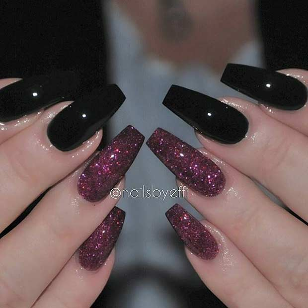 Black And Red Glitter Coffin Nail Design