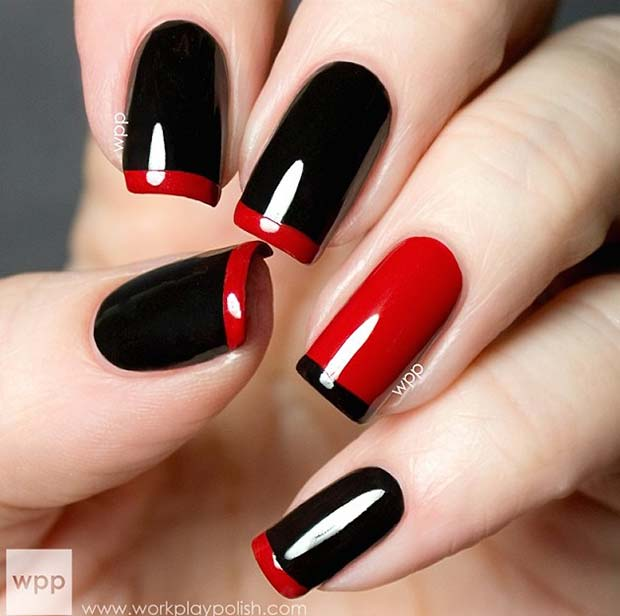 Red French Tip Nails