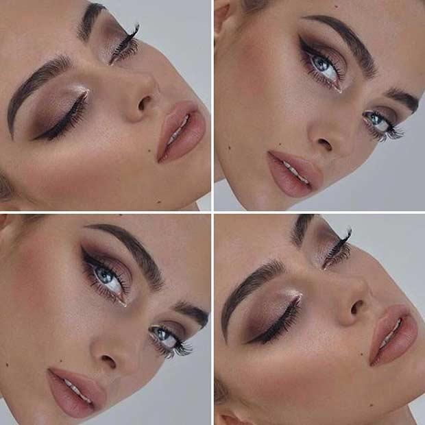 Neutral Wedding Makeup Look for Brides