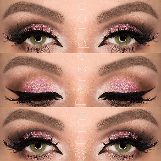 Pink Glitter Eye Makeup Look for Green Eyes