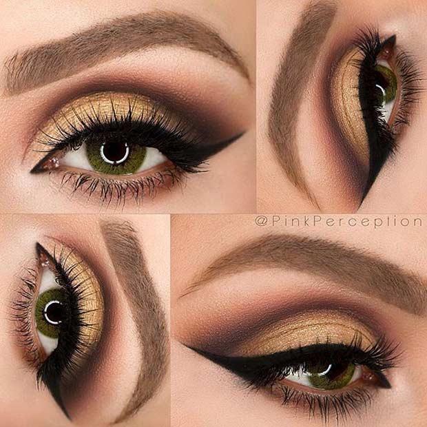 Glam Cut Crease Eye Makeup Look for Green Eyes