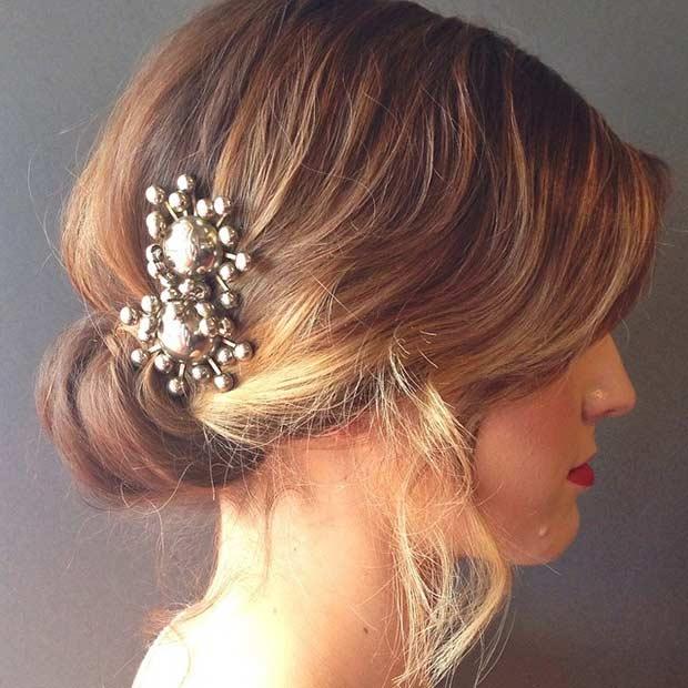 rolled chignon wedding updo for short hair