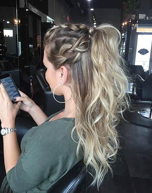 Braided Half Ponytail Hairstyle