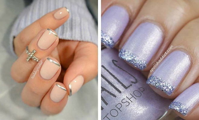 French Tip Nail Designs With Rhinestones Picture 1