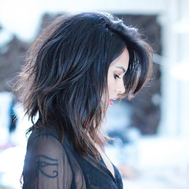 Long Bob Haircut for Thick Hair with Side Bangs