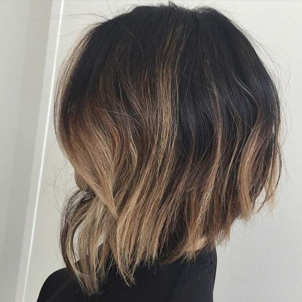 Inverted Bob Haircut with Honey Blonde Highlights
