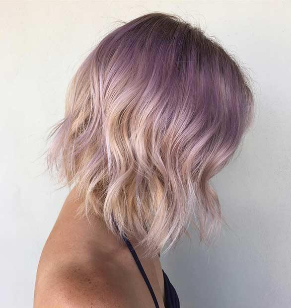Smokey Lavender Blonde Bob Haircut for Summer