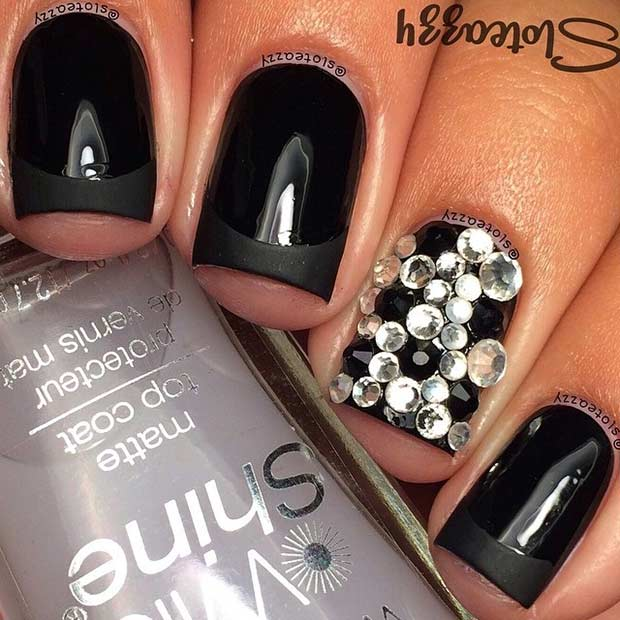 Black French Tip Nails and Rhinestone Accent Nail