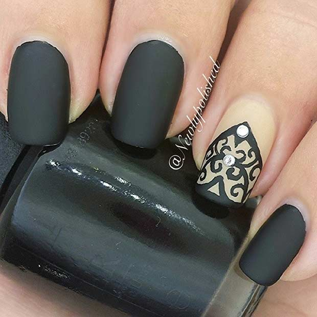 Black Matte Lace Nail Design
