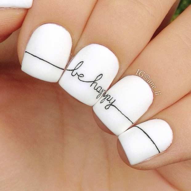 Be Happy Nail Art Design