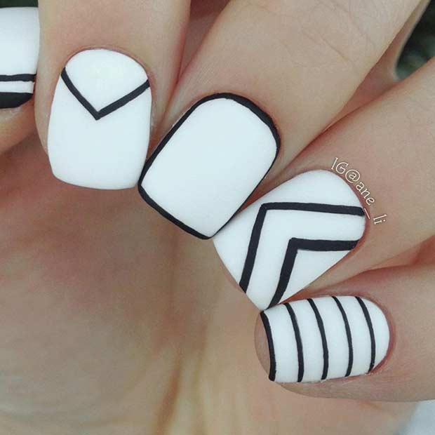Cool White and Black Nail Design for Short Nails