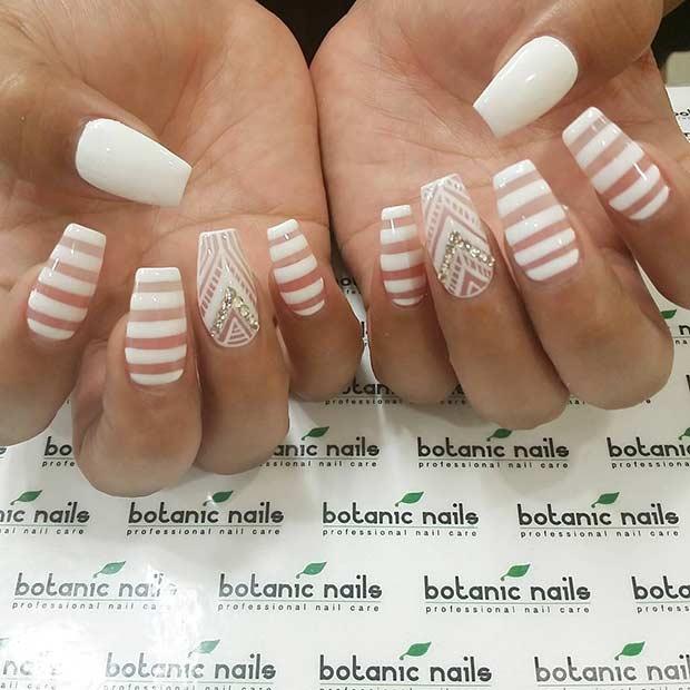 White Stripe Nail Art Design