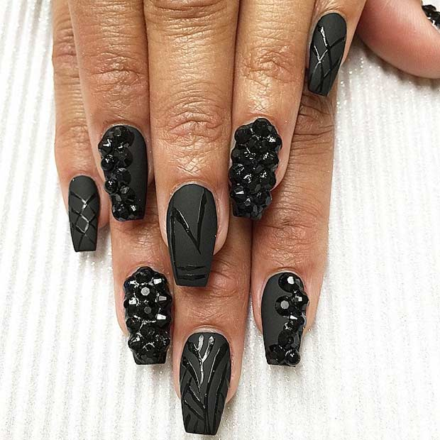 Matte Black Nails with Glossy Details