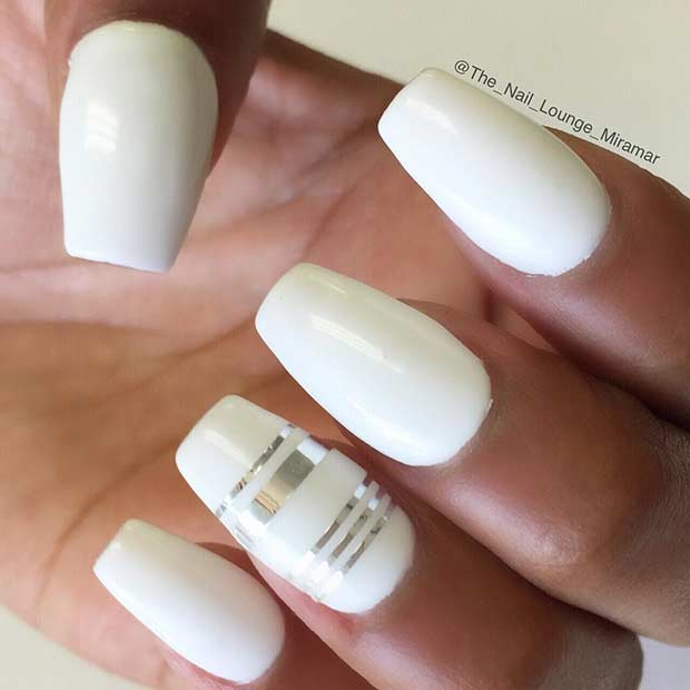 White Nails with Silver Stripes